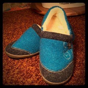 Acorn Blue Wool Slippers